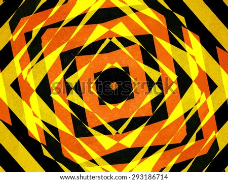 Textured black, orange and yellow striped diamond shapes background - stock photo