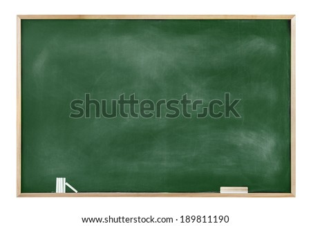 Textured Blackboard with Chalks and Eraser - stock photo