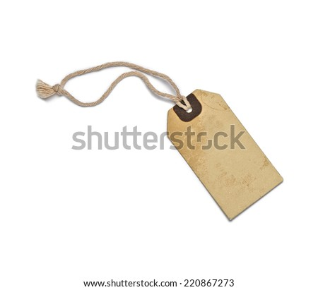 Textured blank tag tied with brown string. Price tag, gift tag, sale tag, address label