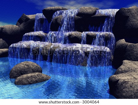 Textured Canvas 3D Waterfall - stock photo