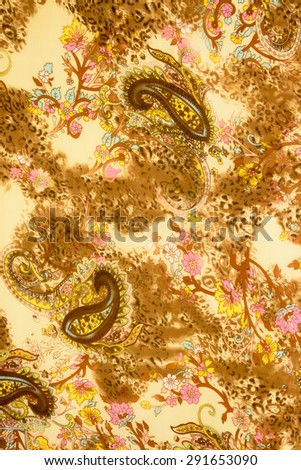Textured chintz floral, leopard and paisley - stock photo