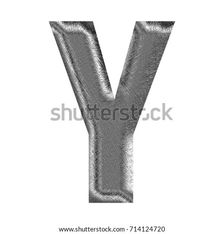 Textured chrome silver metallic uppercase or capital letter Y in a 3D illustration with a rough crosshatched line surface texture and thick bold font isolated on a white background with clipping path.