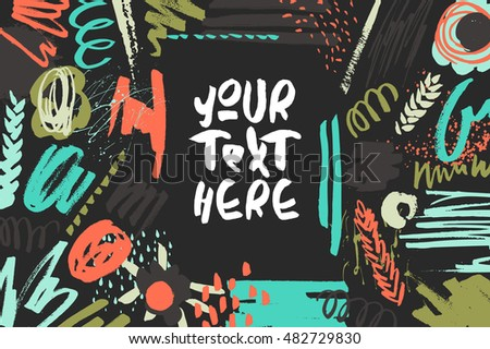 Textured decorative presentation card. Handdrawn textures, colorful shapes, lines and splashes on black. Trendy design for poster, invitation, decorations