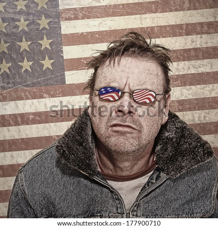 Textured Grunge image of a Man with USA Glasses - stock photo