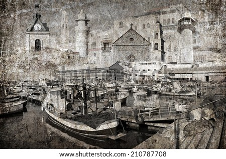 Textured grunge paper background with boats mooring in fishing port of Old City of Yafo. Mediterranean, Israel . Vintage style