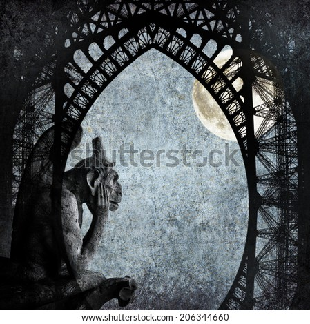 Textured grunge paper background with Paris architecture vintage style -Chimera (demon) of Parisian Notre Dame, full moon and Eiffel Tower profile - stock photo
