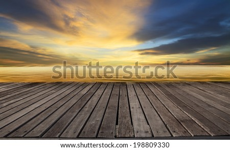 textured of wood terrace and beautiful dusky sky with free copy space use for background,backdrop to display goods and new product - stock photo