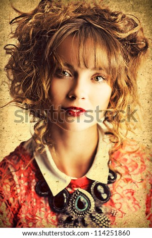 Textured Old Fashioned Photograph Of A Beautiful Woman With Classic Hairstyle And Makeup - stock photo