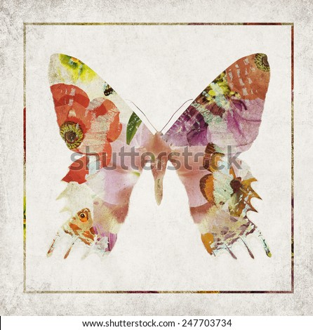 Textured old paper background with butterfly and flowers abstract silhouette. Texture abstract old paper background - stock photo