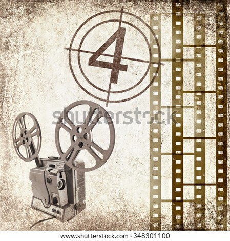 Textured old paper background with film strips and vintage reel movie projector for cinema. Vintage film stripe cinema abstract background. Cinema concept. Image done in retro style with sepia effect  - stock photo