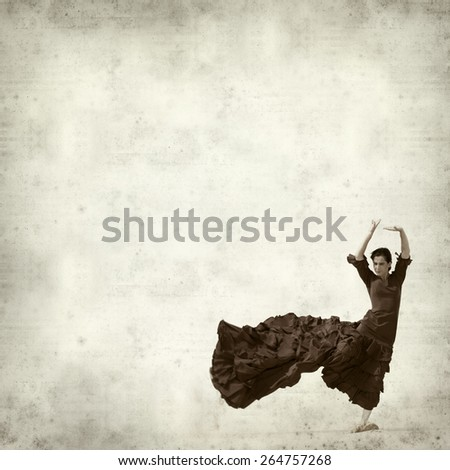 textured old paper background with flamenco dancer - stock photo