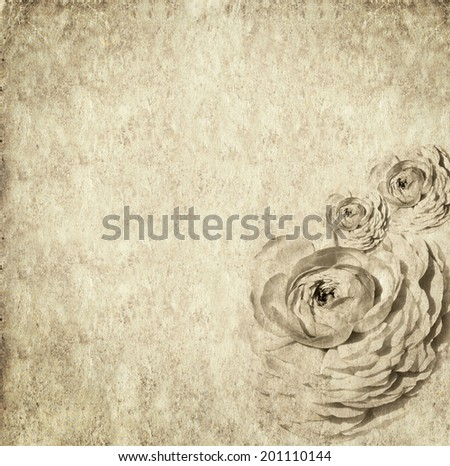 Textured old paper background with flowers. Copy space is available  - stock photo