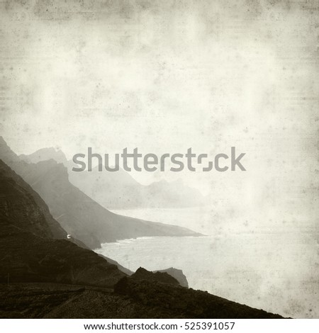 textured old paper background with Gran Canaria landscape