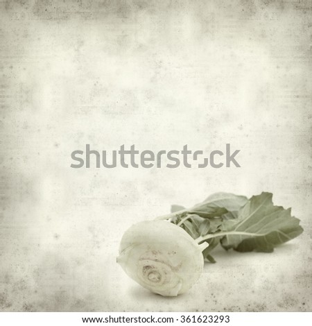 textured old paper background with Kohlrab cabbage