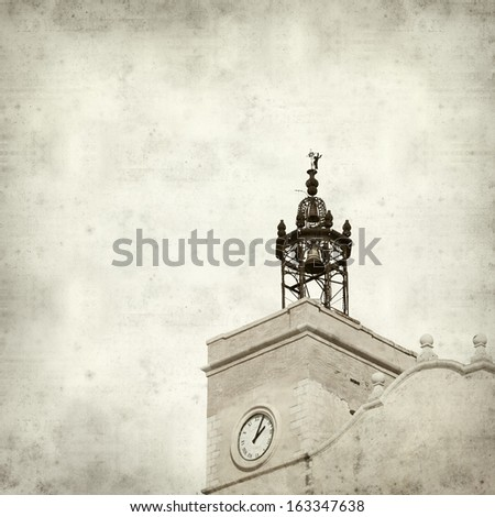 textured old paper background with old church tower
