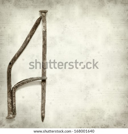 textured old paper background with old forged nails - stock photo