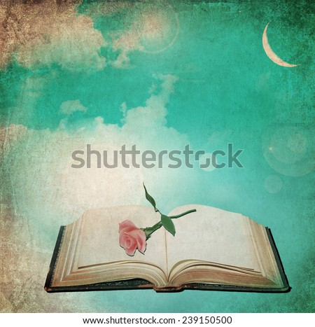 Textured old paper background with open book and rose flower at moon sky light. Vintage abstract background  - stock photo