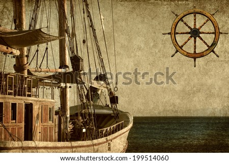 Textured old paper background with sailing ship floating by the sea and steering wheel  - stock photo