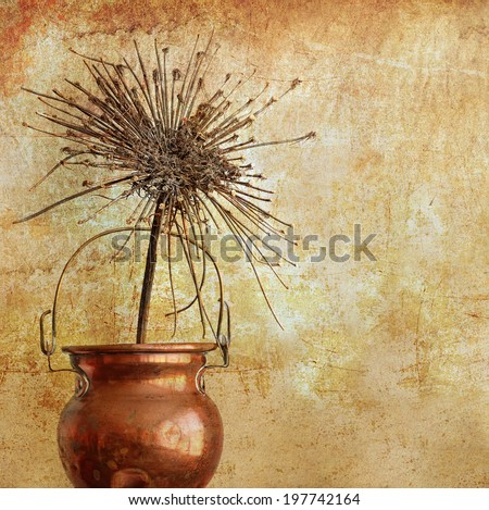 Textured old paper background with the dry flower of wild carrots and cooper pot