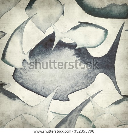 textured old paper background with watercolor fish outlines - stock photo