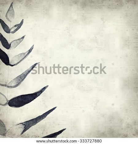 textured old paper background with watercolor paint fern leaves - stock photo
