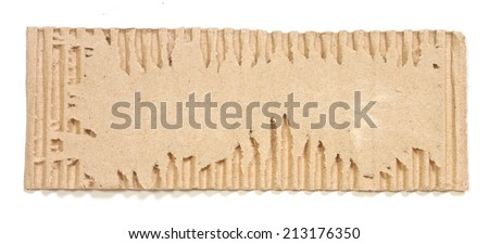Textured recycled torn cardboard on white - stock photo
