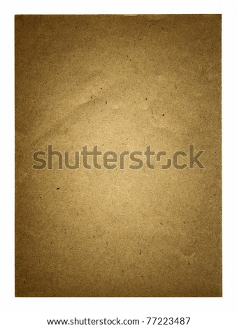 Textured recycled vintage paper with natural fiber parts isolated - stock photo