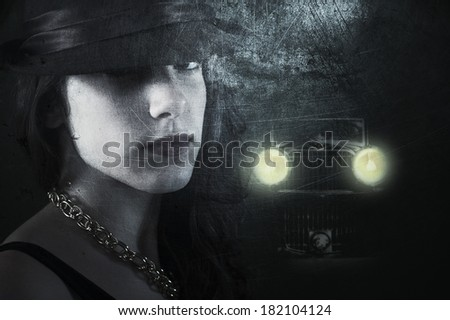 Textured 1930's style imagery with a young woman in dark street followed by a strange retro car   - stock photo