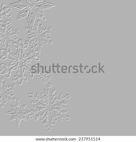 Textured snowflakes Christmas card gray colored background, square shaped
