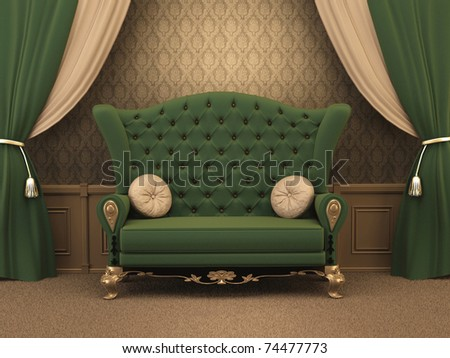 Textured Sofa with pillows and curtain drapery in luxurious apartment. Luxe.  old styled interior. - stock photo