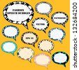 Textured speech bubbles set. Raster version, vector file also available. - stock photo