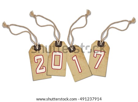 Textured tag with 2017 tied with brown string on white