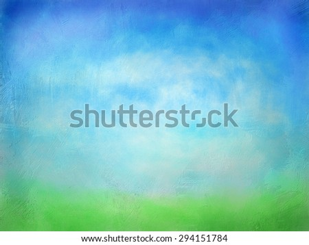 Textured Watercolor Green Grass with Blue Sky background - stock photo