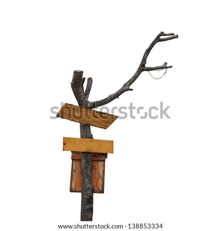 Textured wooden pointers on at the tree trunk isolated on white background - stock photo