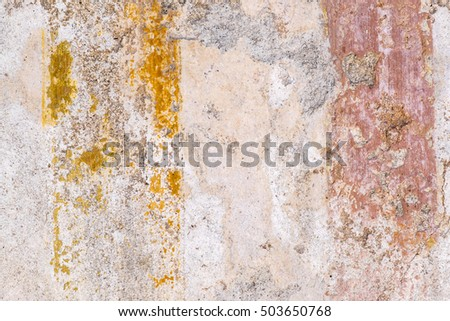 Textures from Color Walls of Ancient Pompeii Ruins in Italy