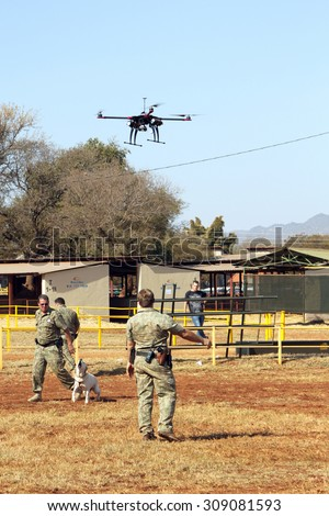 THABAZIMBI, SOUTH AFRICA - August 1:  Farm Community Security displaying drone with camera to trace thieves, attackers at Thabazimbi Agricultural Show, on August 1, 2014 at Thabazimbi, South Africa.