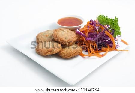Thai appetizer, Spicy fried fish cake (Tod Mun Pla) - stock photo