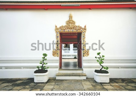 Thai arched entrance in Wat Pho temple,Bangkok, Thailand - stock photo