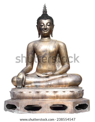 Thai art bronze in the attitude of subduing Mara buddhist statue isolated on white background