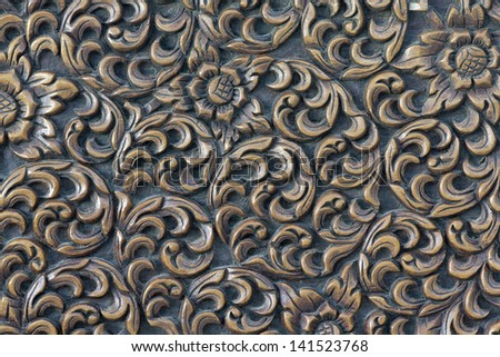 Thai art  carving on plank wood - stock photo