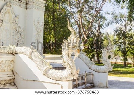 Thai Art, Single white Naka (giant snake) head statue at Thai Buddhist church with deep  depth of field, Tha Sak temple, Phuket province, South of Thailand