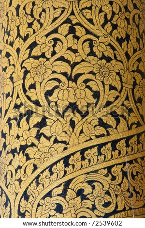 Thai art wall pattern in Temple of Thailand.The temple is open to the public and has beautiful murals on the walls. - stock photo