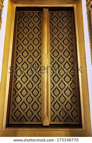 Thai art wall pattern on wood door & Thailand Temple Pattern Thai Mural On Stock Photo 99760226 ... Pezcame.Com