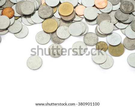 Thai Baht money coins isolated on white space for text - stock photo