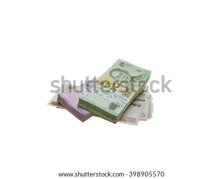 Thai bank notes isolated on white background. - stock photo