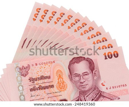 Thai banknotes background isolated on white background