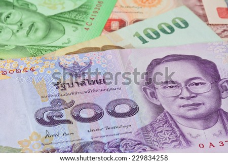 Thai banknotes (baht).concept photo   for  money,business, banking ,currency and foreign exchange rates