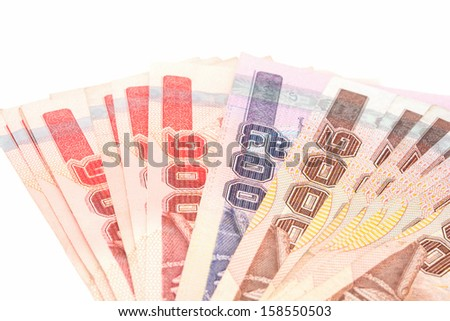 Thai banknotes isolate on the white background