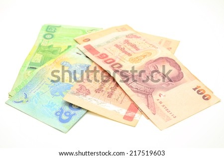 Thai banknotes on a white background