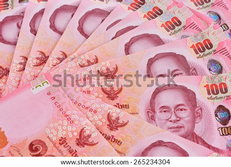 thai banknotes or bills for trading, buying, currency exchange or investment business background